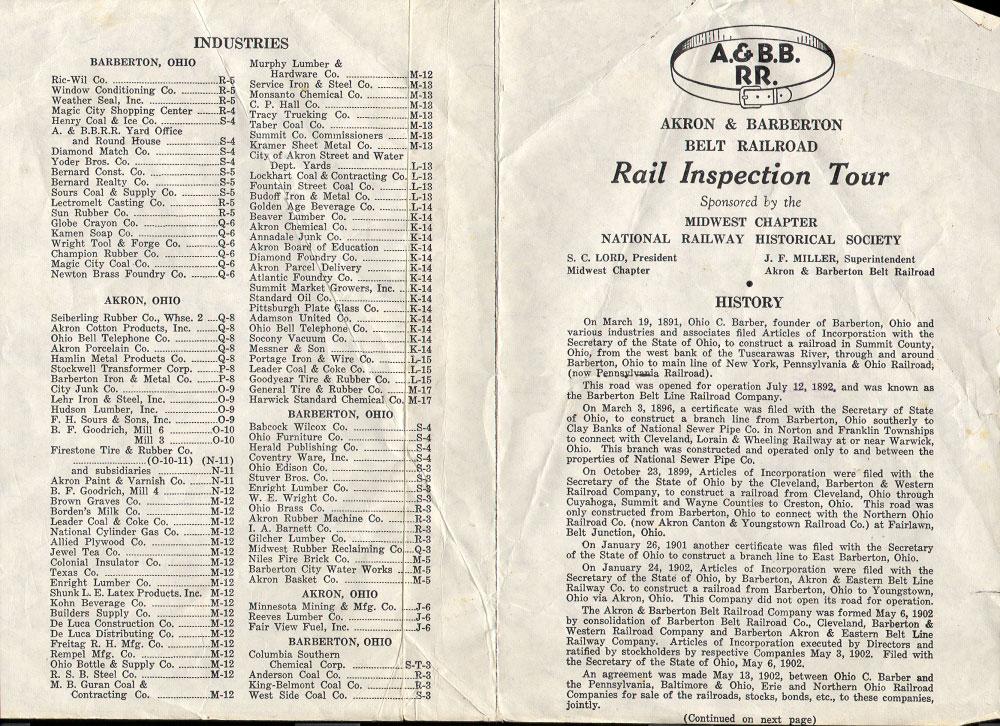 Akron Barberton Belt Inspection Trip Map